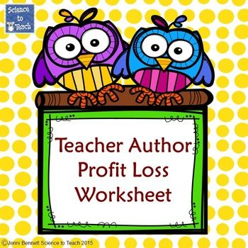Teacher Author Profit Loss Balance Sheet With the cost of - profit loss worksheet