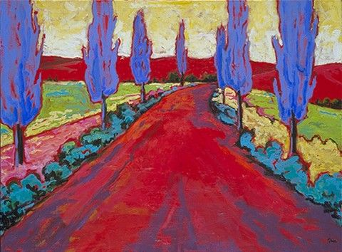 Fauvism. Deep red underpainting. Dull purple shadows.