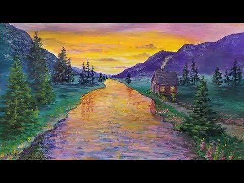 Live Acrylic Landscape Painting Tutorial Cabin On The Water At Sunset Landscape Paintings Acrylic Desert Painting Landscape Painting Tutorial
