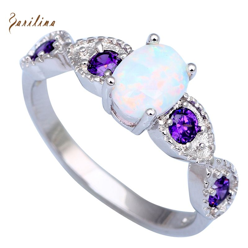 Wedding Purple Cubic Zirconia rings for teen girls White Fire Opal ...
