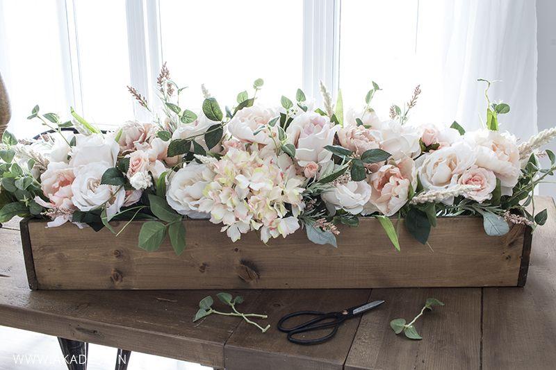 Diy Faux Floral Arrangement Feminine Yet Rustic Crate Faux Floral Arrangement Floral Arrangements Diy Home Floral Arrangements