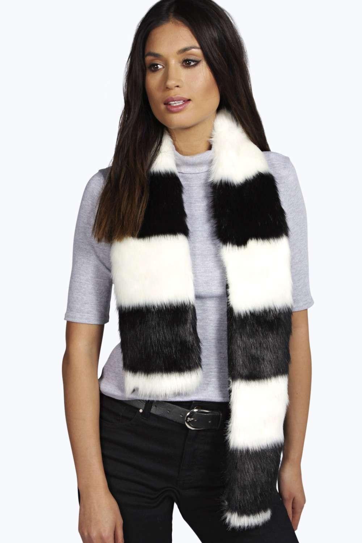 Multi Colour Faux Fur Scarf black