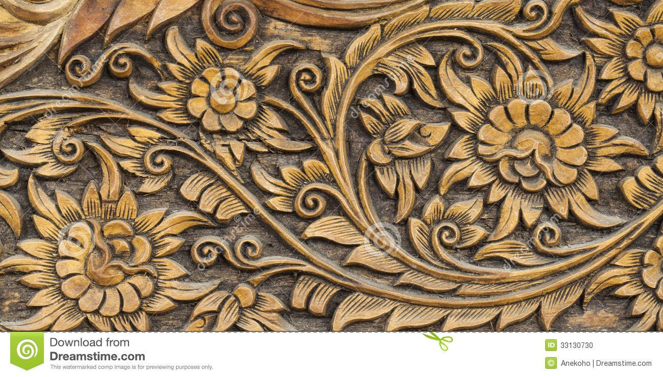 Wood carving designs flowers pattern of flower carved stock photo