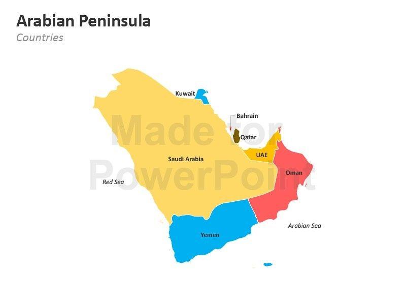 Arabian Peninsula Map - Editable PowerPoint Slides | Arabian ...