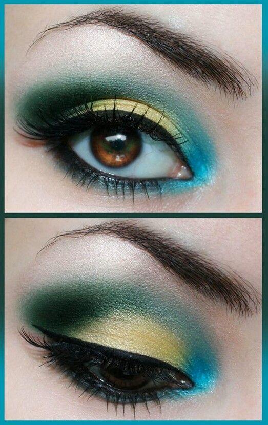 Amarillo Verde Y Azul Bonita Combinacion Maquillaje Verde Maquillaje De Ojos De Noche Maquillaje De Belleza