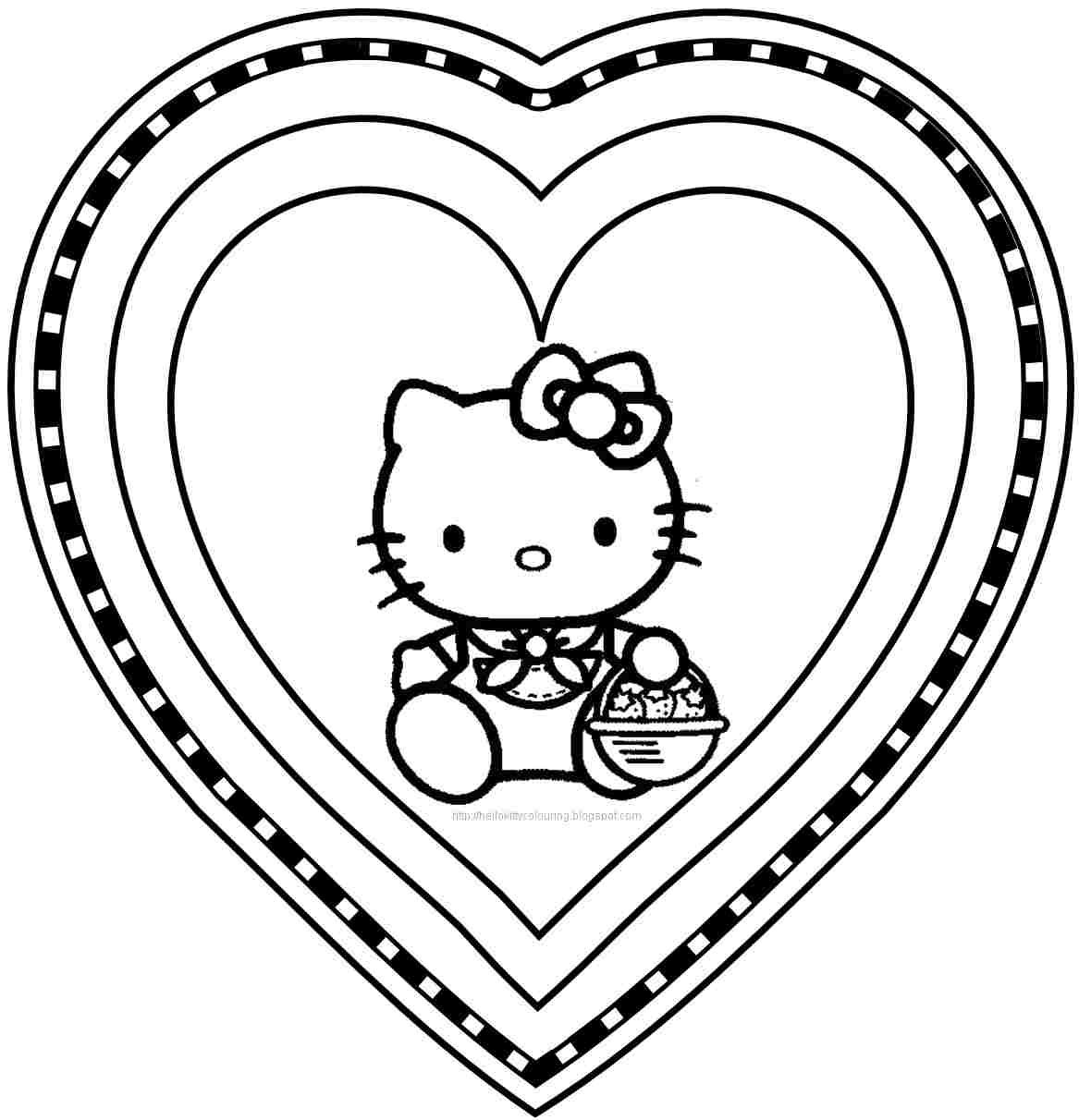 Free printable hello kitty valentine colouring pages for kids
