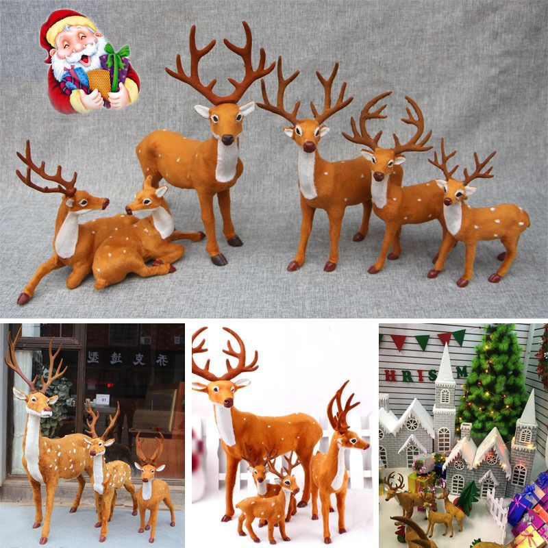 Christmas Deer Simulation Reindeer Ornaments Decoration Party Supply 5/20/25cm #Unbranded