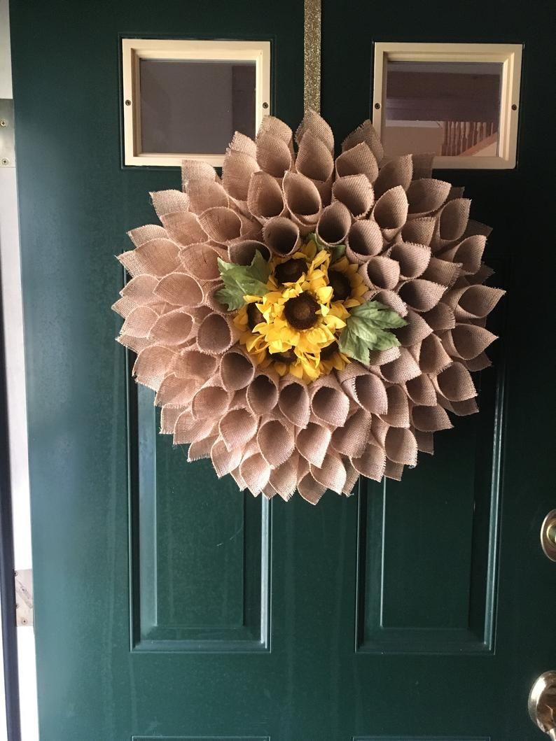 Photo of Grande couronne naturelle de tournesol de burlap, couronne de tournesol, couronne de fleur de burlap, couronne de source, couronne d'été, couronne d'automne, couronne de porte avant