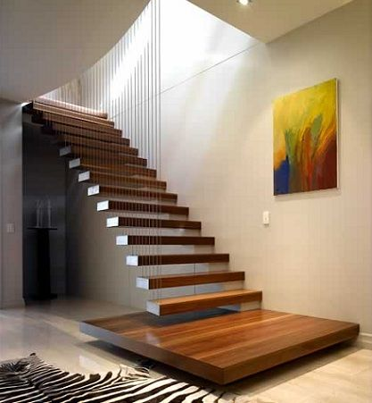 Cable Floating Wooden Stairs Architectural Inspiration - Suspended style floating staircase ideas for the contemporary home