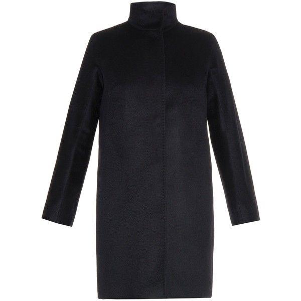 Max Mara Studio Melina coat (920 CHF) ❤ liked on Polyvore featuring outerwear, coats, black, black funnel neck coat, maxmara coat, black coat, long sleeve coat and funnel neck coat