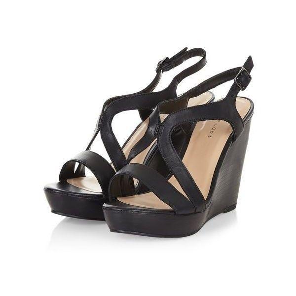 Sandales compensées en cuir noir à brides ($43) ❤ liked on Polyvore featuring shoes, sandals, bridal shoes, bridal footwear, bridal sandals, bride sandals and bride shoes
