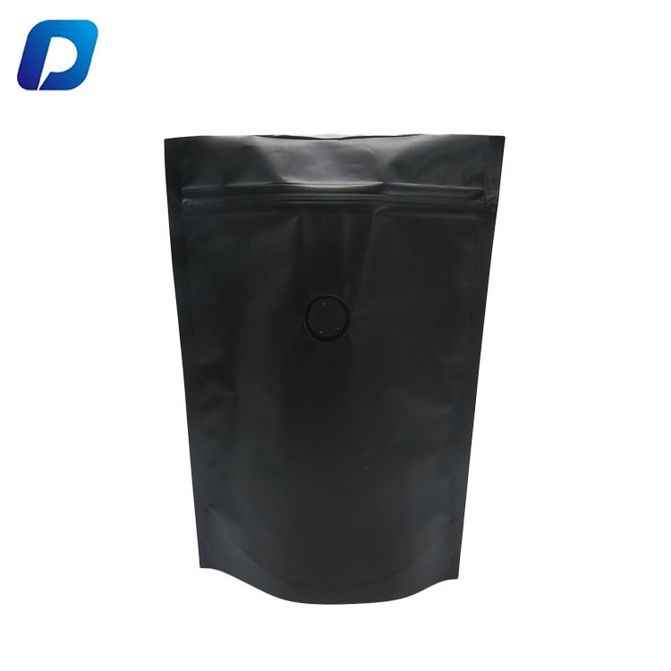 Download Laminated Stand Up Zipper Pouch Matte Black Coffee Packaging Bag With Valve Coffee Packaging Bag Fashion Female Coffee Packaging Black Coffee Zipper Pouch