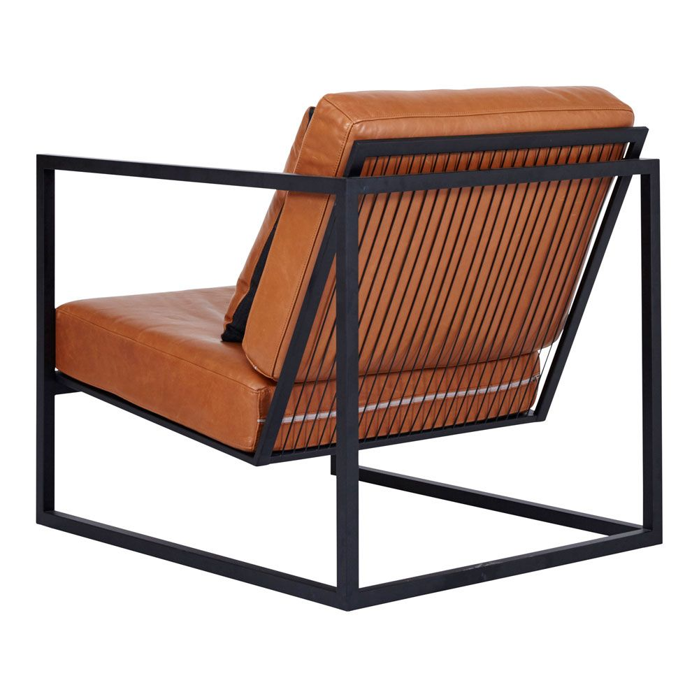 This Black Metal Frame And Italian Brown Tan Leather Armchair Is A