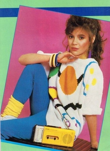 Alyssa Milano Pinup Groovy Sweater And Cassette Player Ztams In