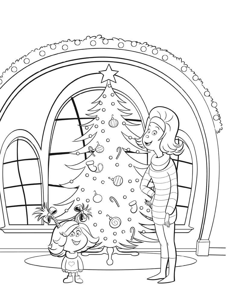 раскраски гринч синди лу и мама наряжают елку перед