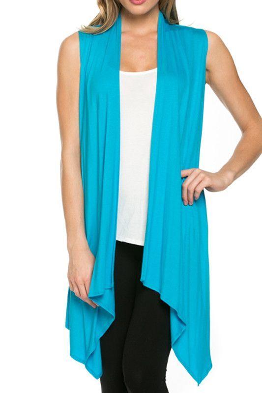 Women Sleeveless Open Front Shawl Irregular Hem Draped Cardigan Top
