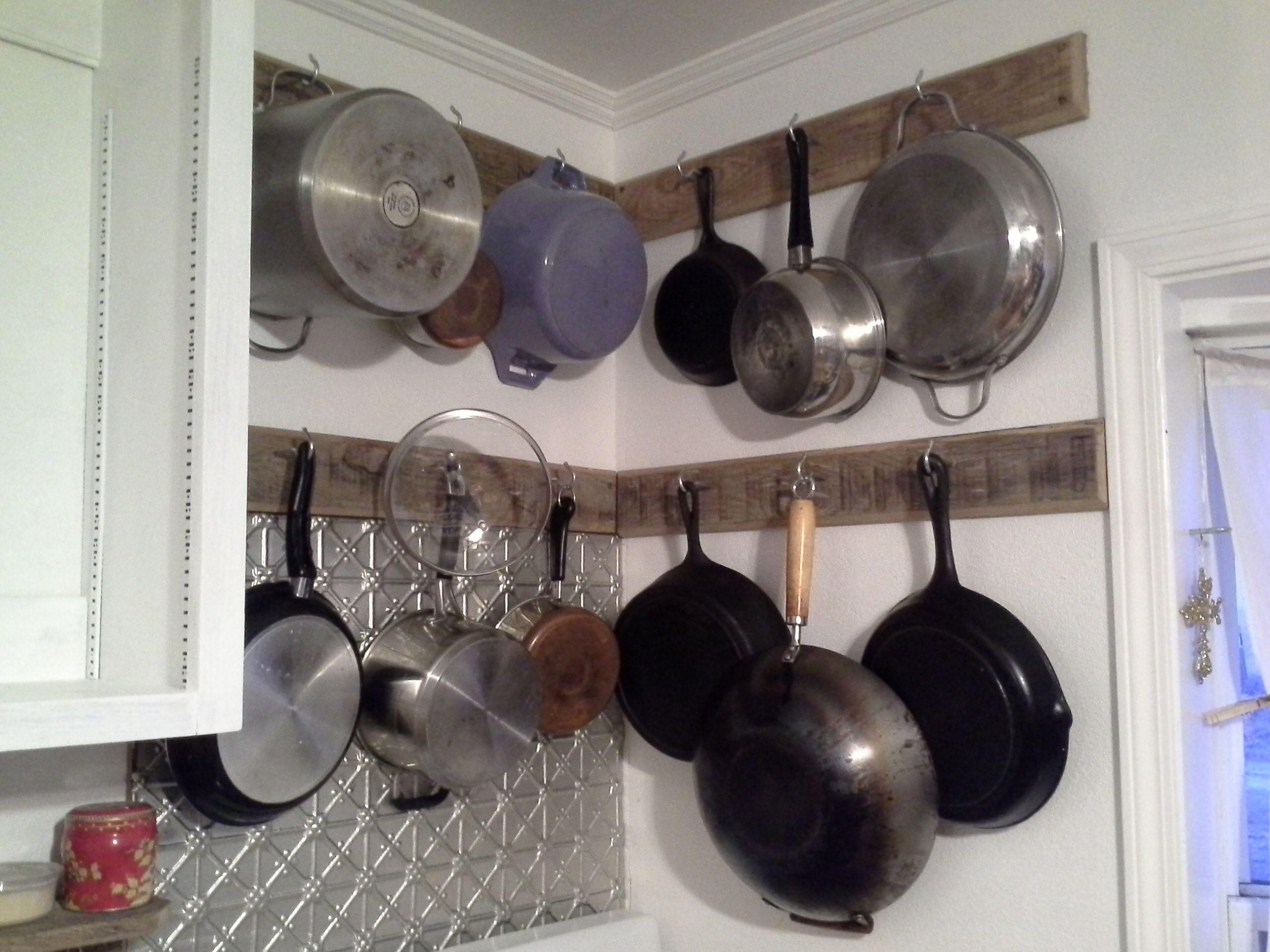 Small kitchen hanging pot rack Diy Andy s Junk