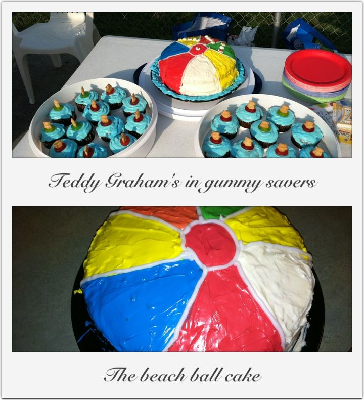 Pool Party Cake Cupcakes.. The Cupcakes Were Topped With Lifesaver Gummies And A Teddy Graham In