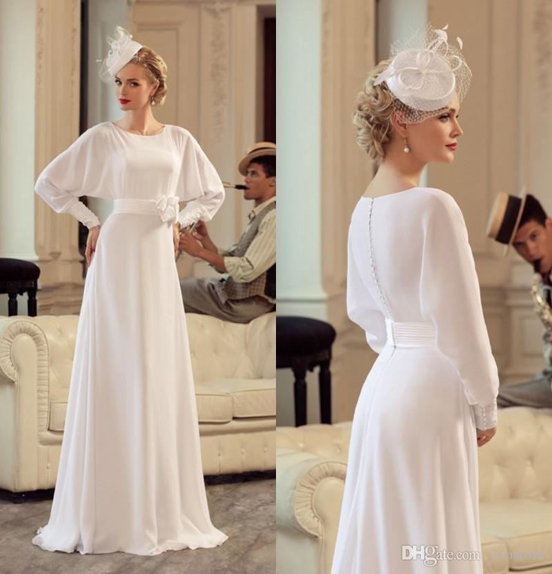Vintage Silk Chiffon Wedding Dresses Elegant Long Sleeves Bridal Gown Mother Dress Modest For Modest Dresses Silk Chiffon Wedding Dress Long Sleeve Bridal Gown
