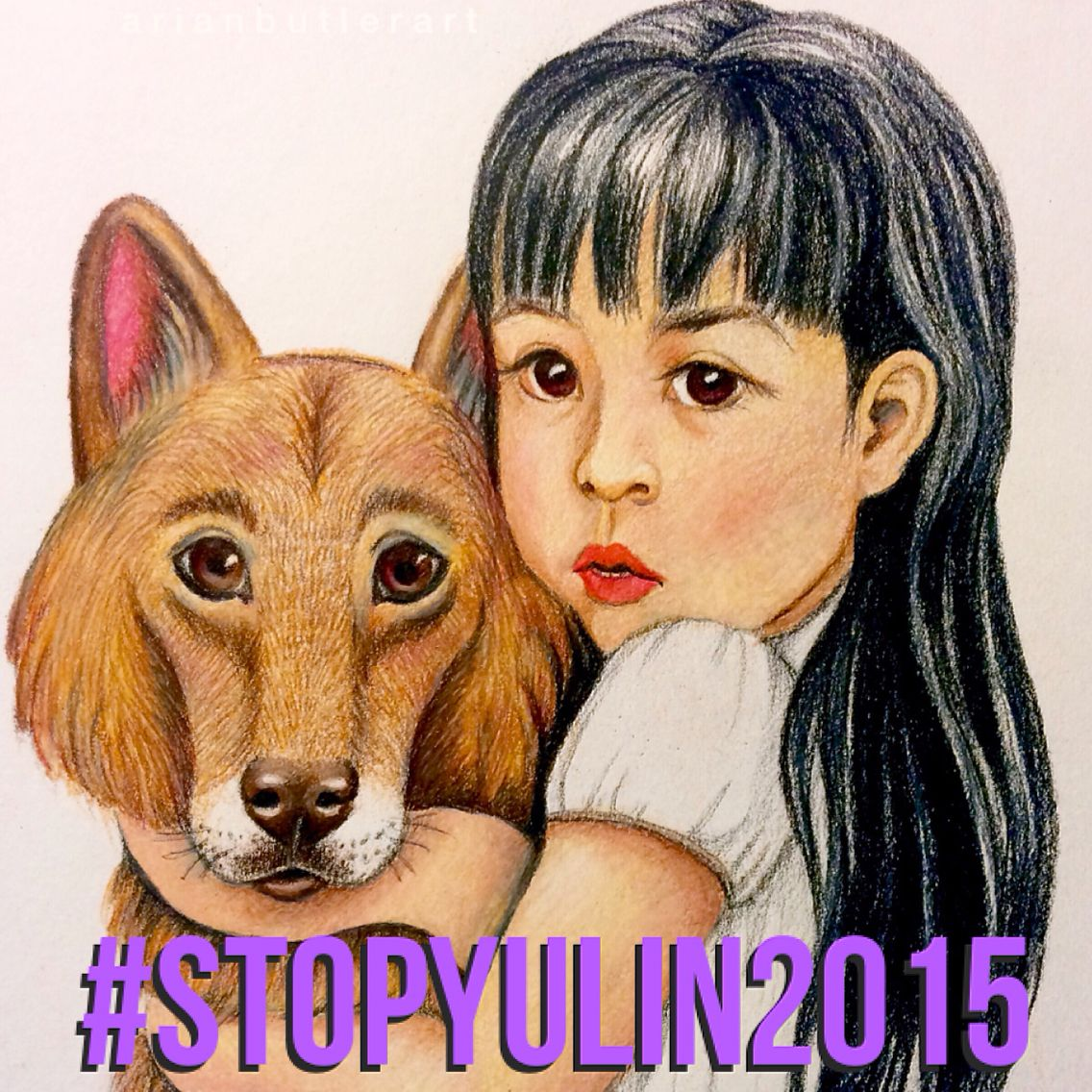 This issue has really broken my heart, but inspired me to do something to help. I drew this image in colored pencil, wanting to help raise awareness. #stopyulin2015