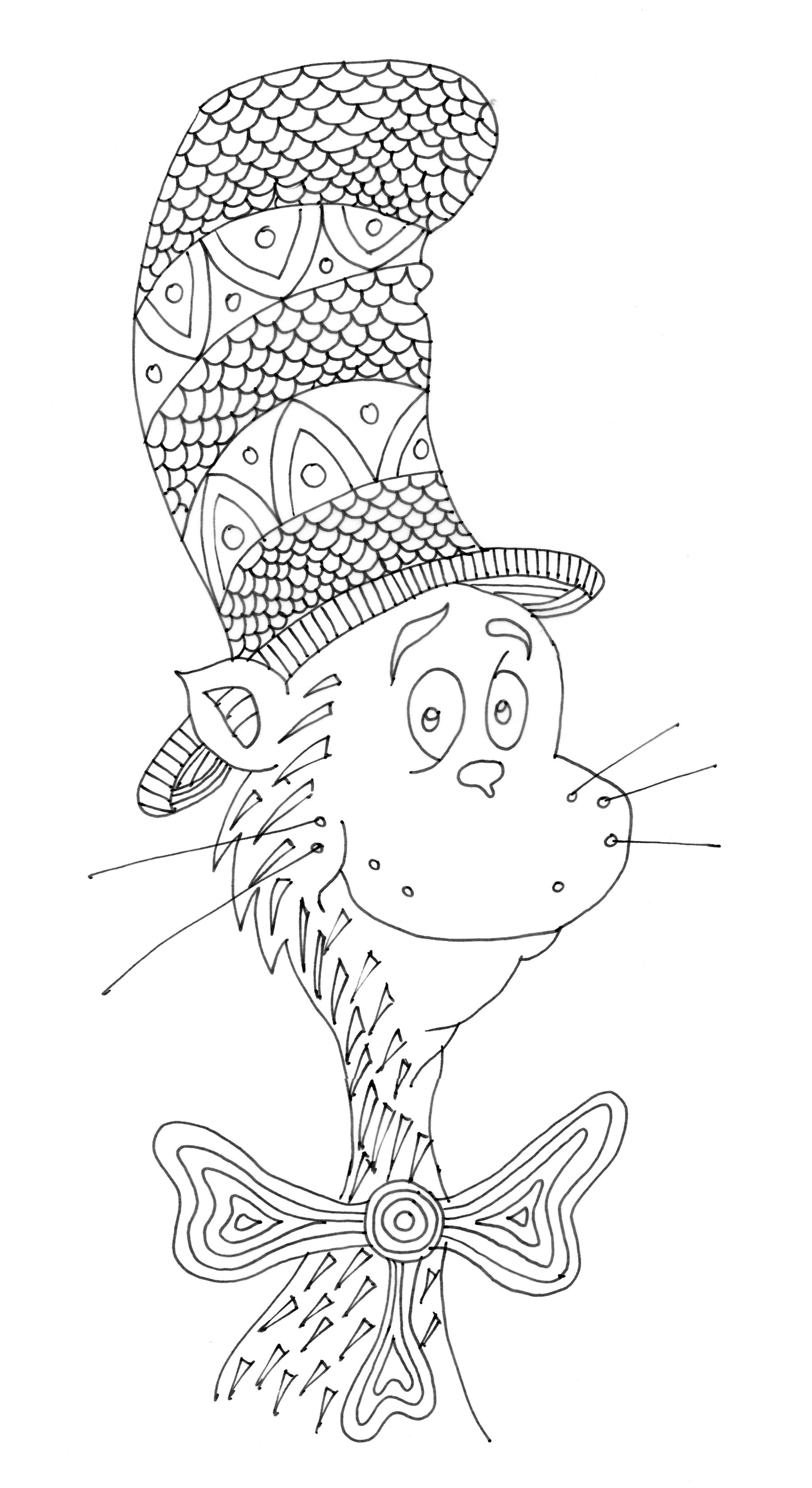 Cat In The Hat Coloring Page Free See Mapantz Etsy