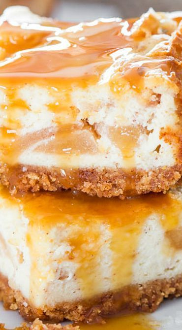 Salted Caramel Apple Pie Cheesecake Bars - Jo Cooks