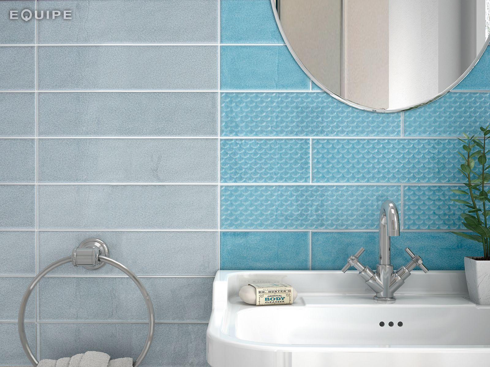 Cosmos Blue Ash Turquoise 7 5x30 Deco Squama 7 5x30 Bathroom
