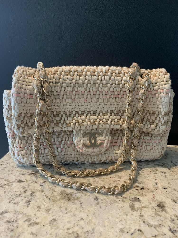 ea98396893d61 Chanel Tweed Classic Flap w/Brushed Gold Hardware --no leather.. Beautiful  muliti-color tweed bag - beige, gold, white, and pink all woven together.