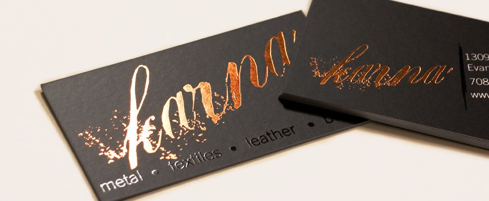 Silk Business Card With Copper Foil Stamping And Spot Uv Gloss