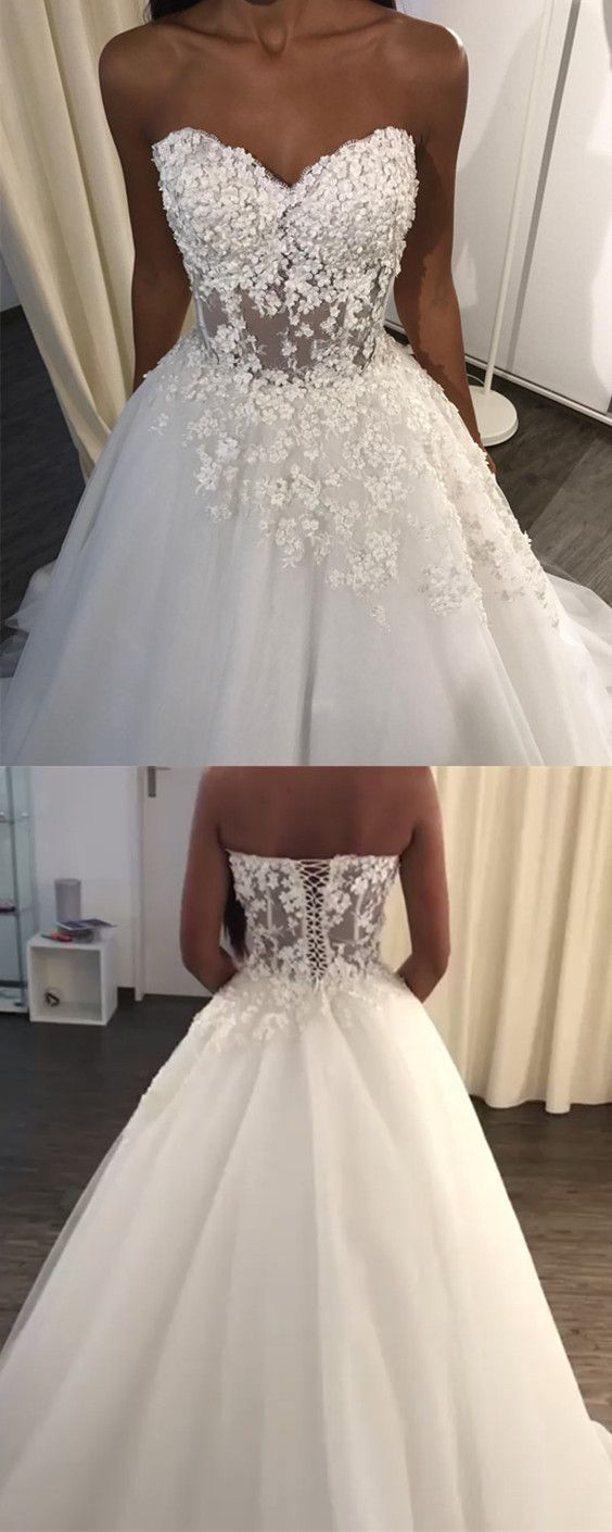 Lace Appliques Sweetheart See Through Corset Tulle Wedding Dresses
