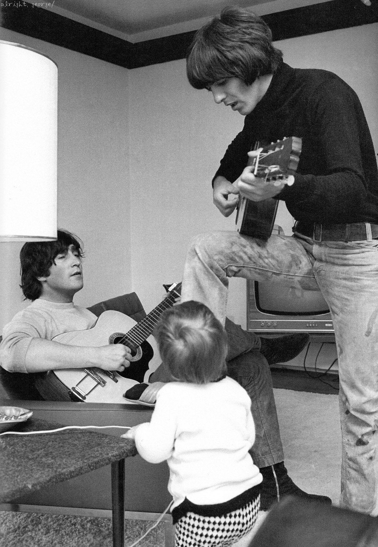 John & Julian Lennon and George Harrison, photo by Henry Grossman
