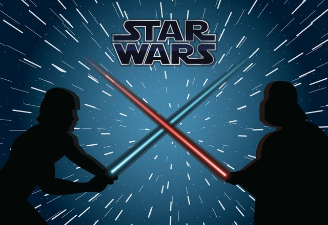 Drawing featuring Star Wars characters Luke and Darth Vader in a ...
