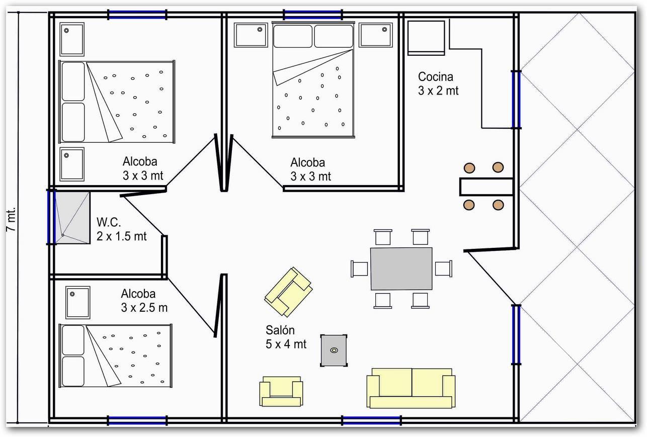 Distribucion sin pasillo casa 70 metros buscar con for Distribucion piso 70 metros