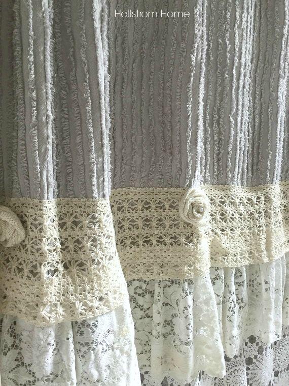 DIY Shabby Chic Shower Curtain Tutorial  Shabby Chic