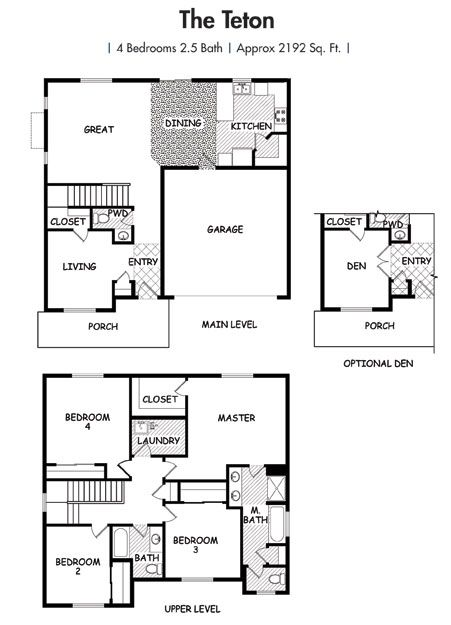 House Plans Two Story Home Floor Plan The Teton Simplicity Homes