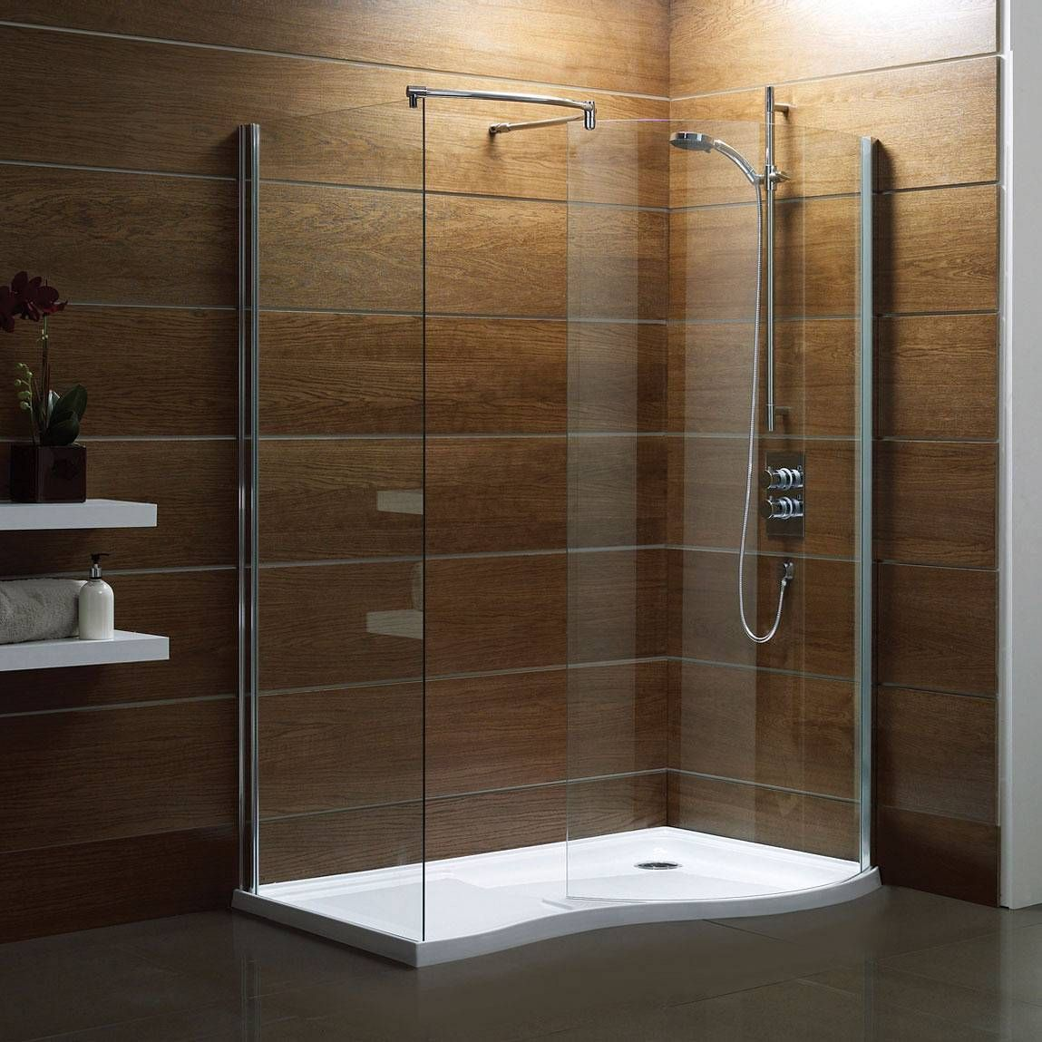 Wood showers wooden interior walk in shower design ideas for Bathroom enclosure designs