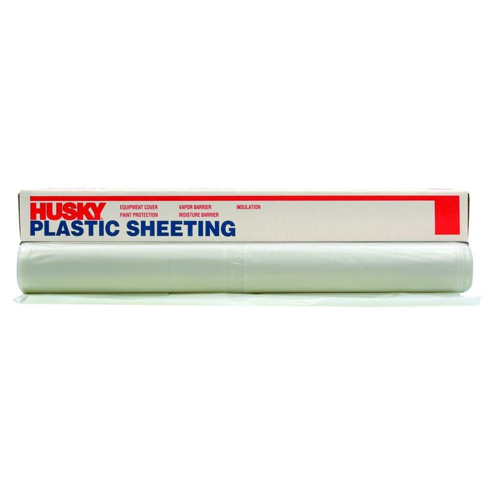 Husky 12 Ft X 50 Ft Clear 4 Mil Plastic Sheeting Cf0412 50c In 2020 Plastic Sheets Home Depot Plastic