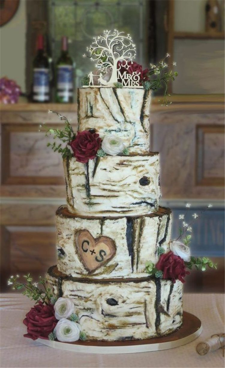 60 Gorgeous And Simple Rustic Wedding Cakes You Would Love Page 30 Of 60 Women Fashion Lifestyle Blog Shinecoco Com In 2020 Fancy Wedding Cakes Country Wedding Cakes Wedding Cake Rustic