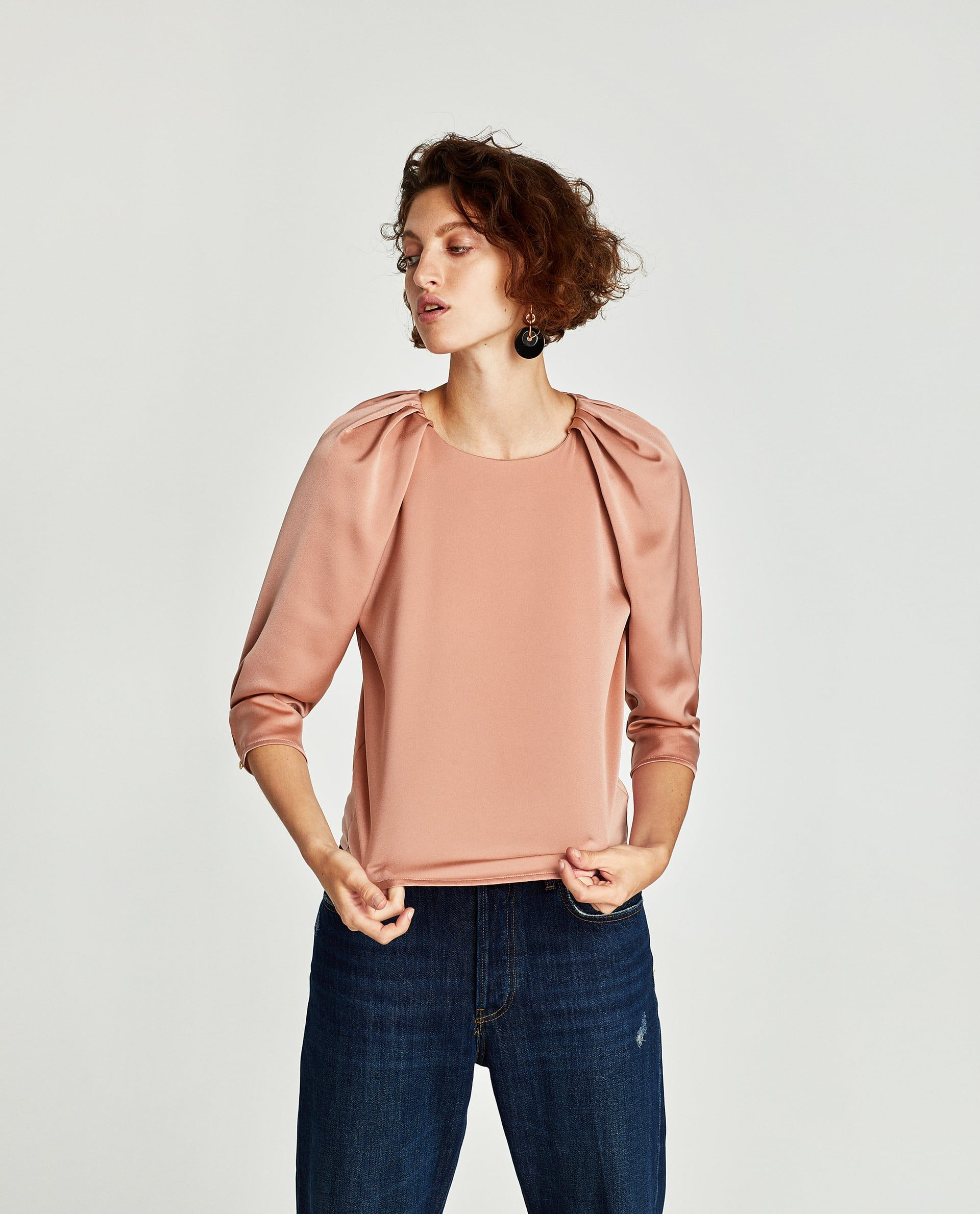cba0146d Image 4 of SATIN BLOUSE WITH SHOULDER PLEATS from Zara | VMM styling ...