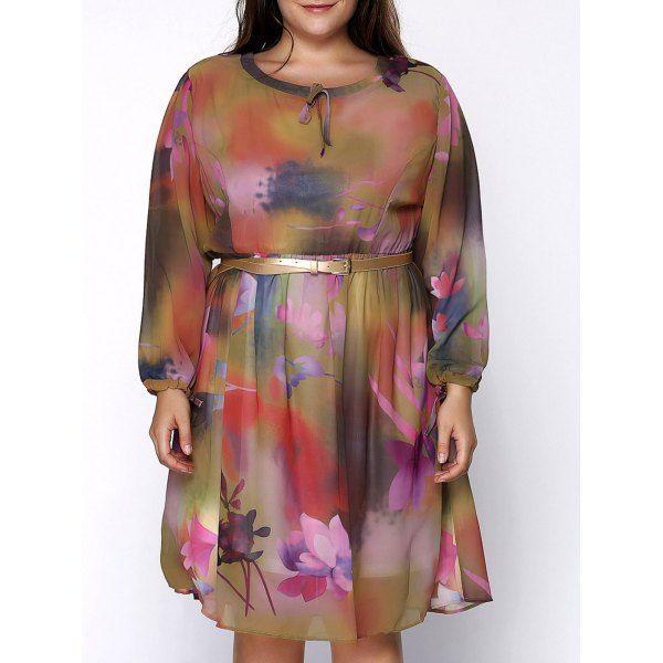 Elegant Scoop Collar 34 Sleeve Floral Print Plus Size Womens Dress