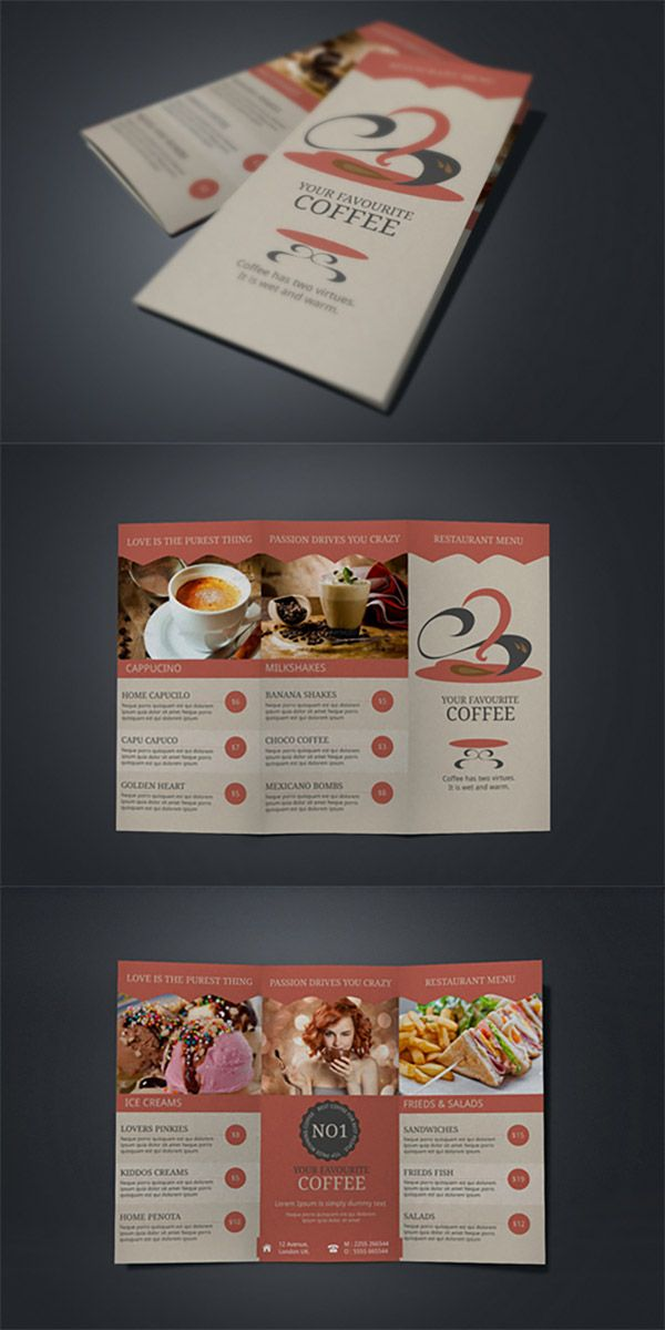 Refreshing Coffee Shop Brochure Designs  Coffee Menu Brochures