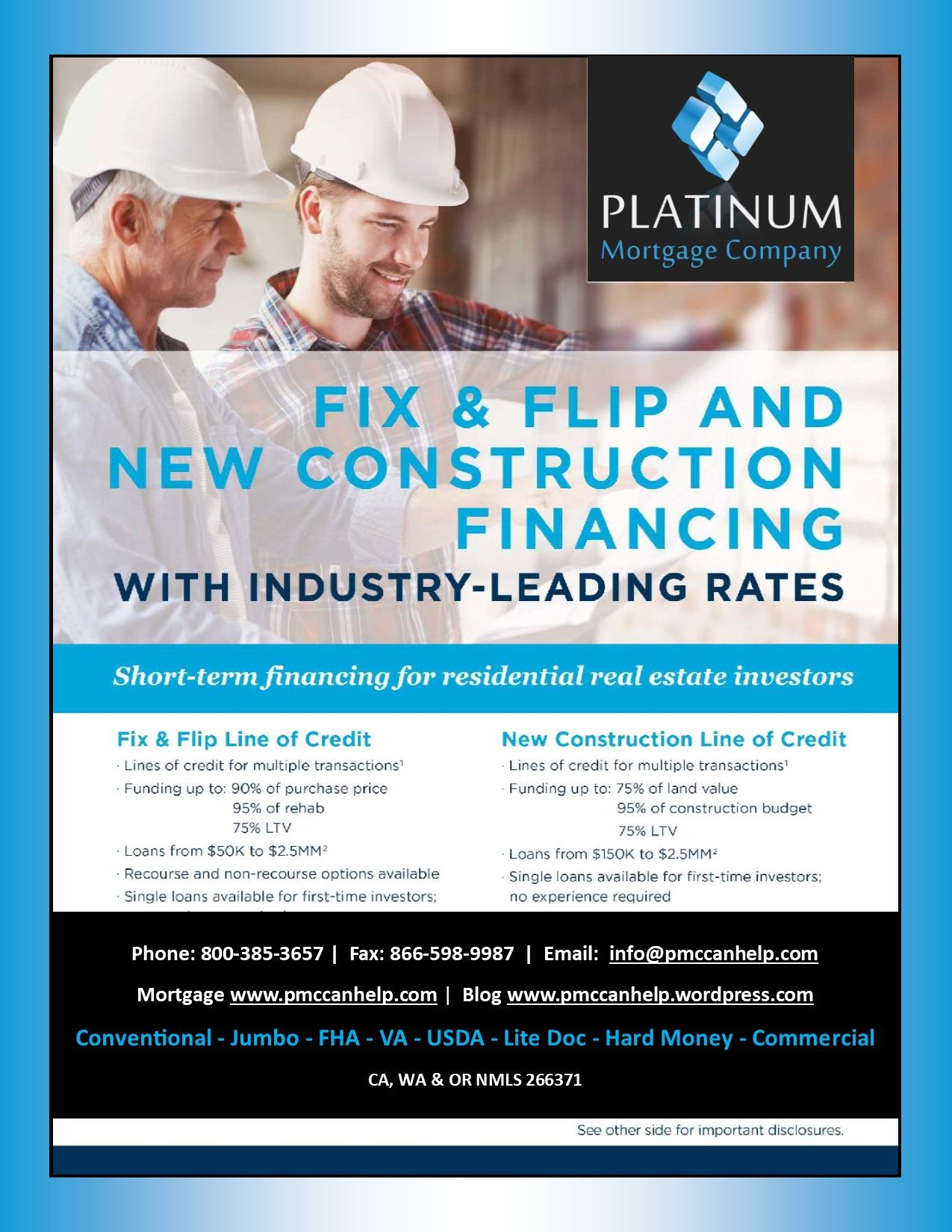 Fix Flip And New Construction Financing Line Of Credit Available