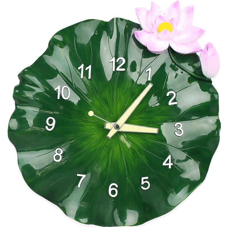 Modern Creative Lotus Leaf 3d Stereo Wall Hanging Resin Clock