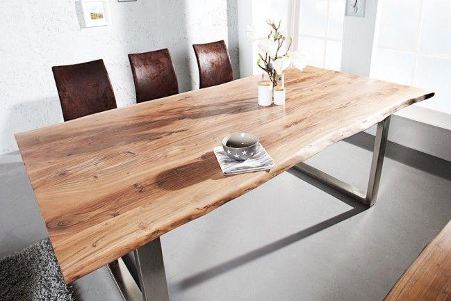 Massiver Baumstamm Tisch MAMMUT 200cm Akazie 479\u20ac Kufengestell mit 3
