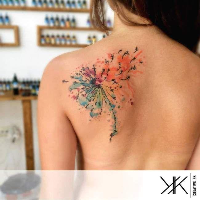 idee,tatouage,fleur,aquarelle,femme,