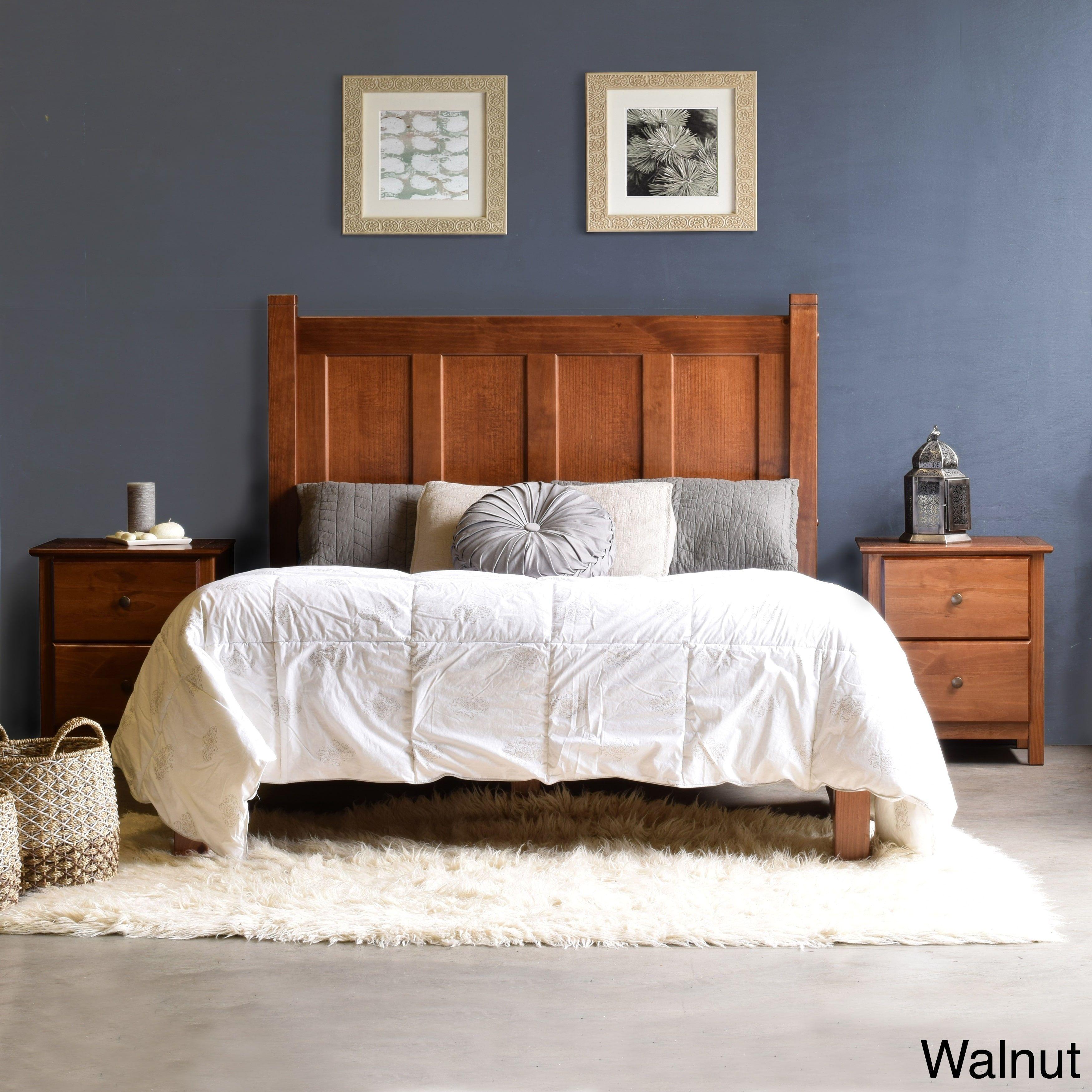 Grain wood furniture shaker wood panel queen platform bed cherry