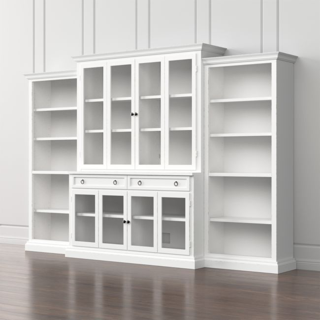 Cameo 4-Piece Modular White Glass Door Wall Unit with Open Bookcases | Crate and Barrel