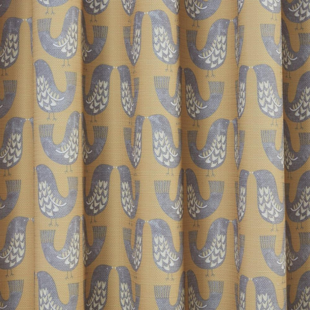 Scandinavian Ready Made Curtains Nordic Birds Mustard Ready Made Curtains 117 X 137cm Bedroom