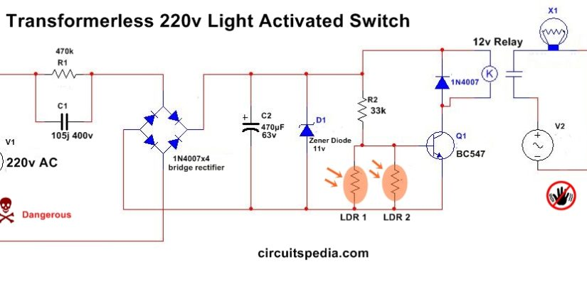 Automatic Night Light Circuit Diagram With Ldr Without Transformer