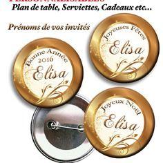 Lot de 10 badges noël, reveillon, invites. marque-place personnalisable, deco table